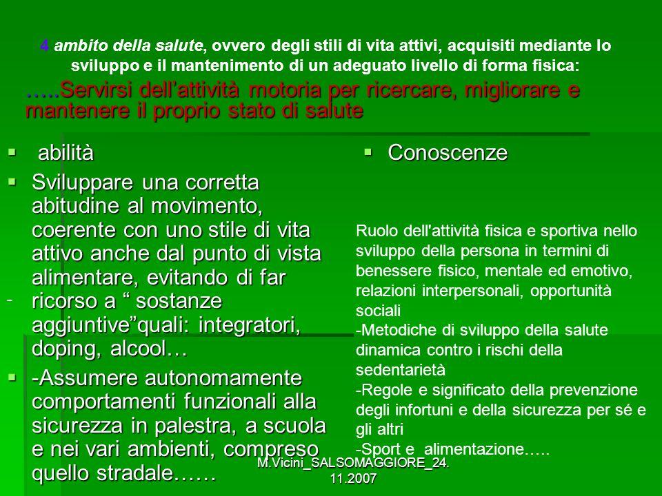 M.Vicini_SALSOMAGGIORE_24. 11.2007 abilità abilità Sviluppare una corretta abitudine al movimento, coerente con uno stile di vita attivo anche dal pun