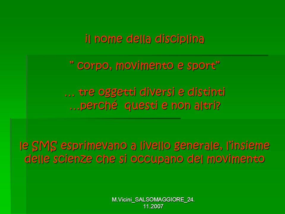 M.Vicini_SALSOMAGGIORE_24. 11.2007 il nome della disciplina corpo, movimento e sport … tre oggetti diversi e distinti …perché questi e non altri? le S