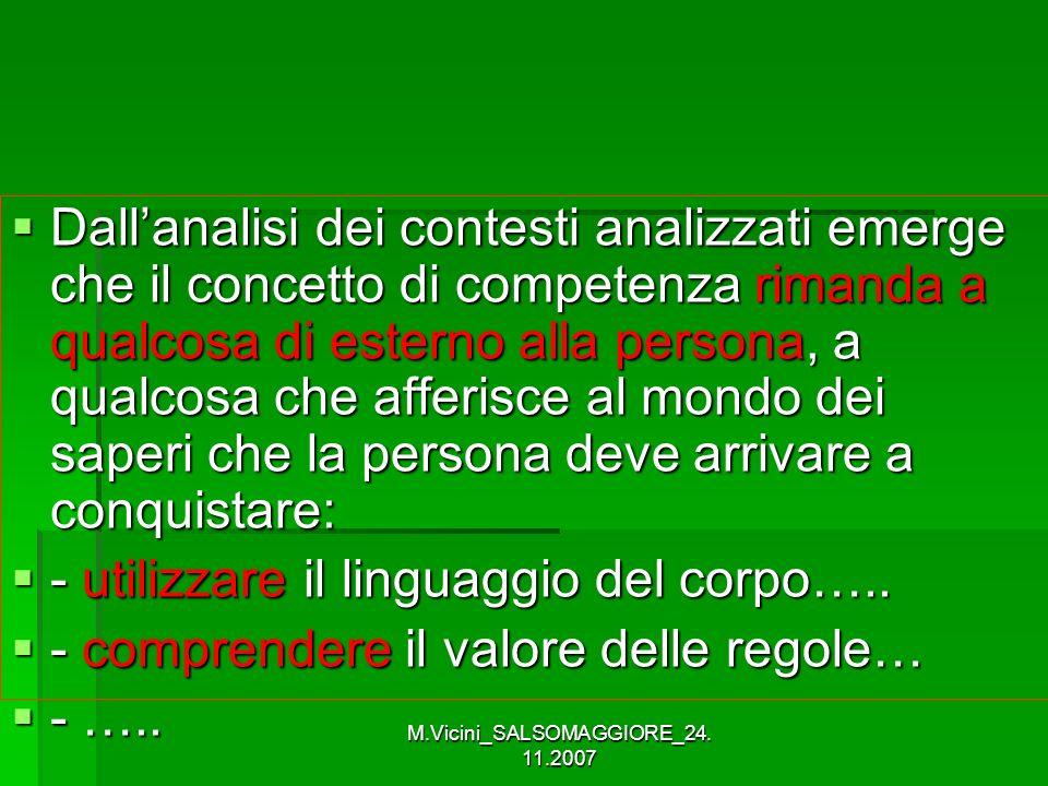 M.Vicini_SALSOMAGGIORE_24. 11.2007 Dallanalisi dei contesti analizzati emerge che il concetto di competenza rimanda a qualcosa di esterno alla persona