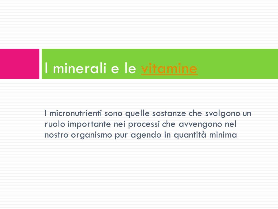 I micronutrienti sono quelle sostanze che svolgono un ruolo importante nei processi che avvengono nel nostro organismo pur agendo in quantità minima I