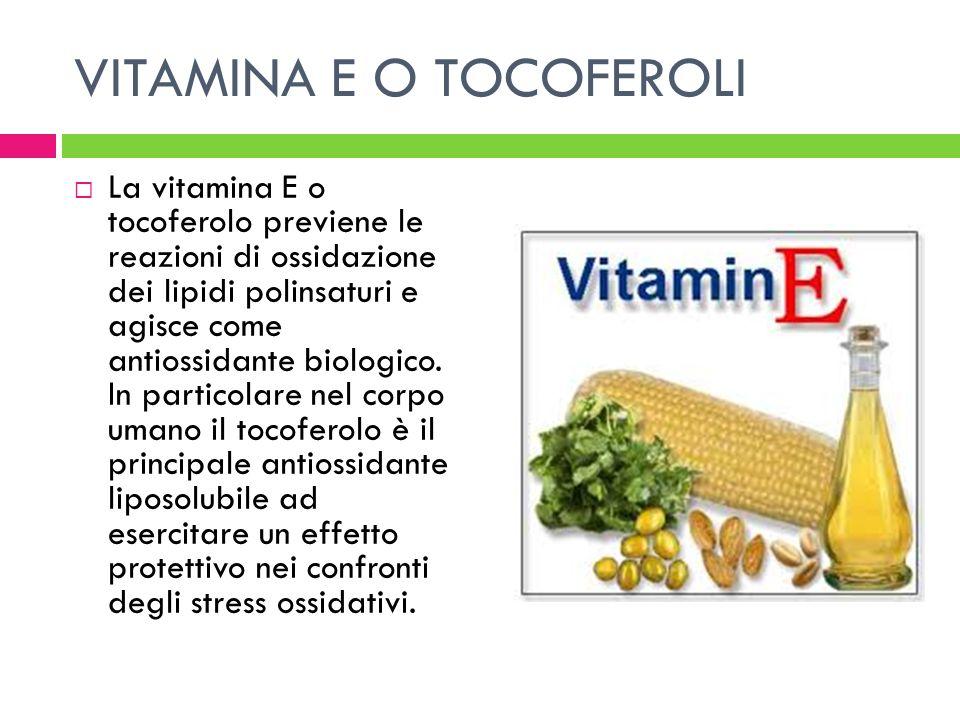 VITAMINA E O TOCOFEROLI La vitamina E o tocoferolo previene le reazioni di ossidazione dei lipidi polinsaturi e agisce come antiossidante biologico. I