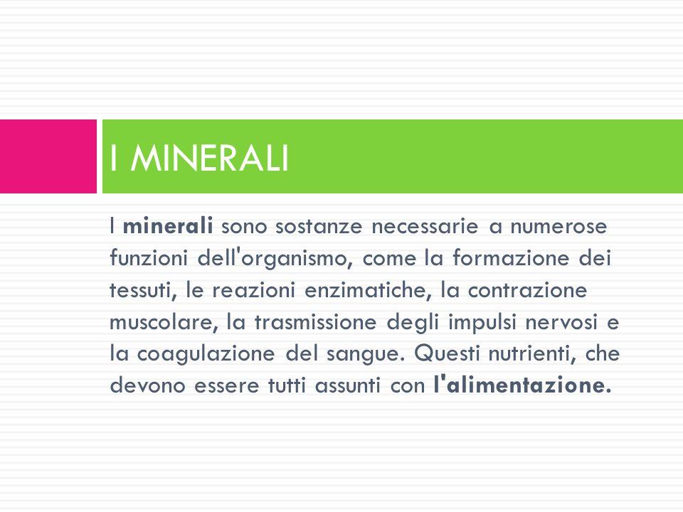 I minerali sono sostanze necessarie a numerose funzioni dell'organismo, come la formazione dei tessuti, le reazioni enzimatiche, la contrazione muscol