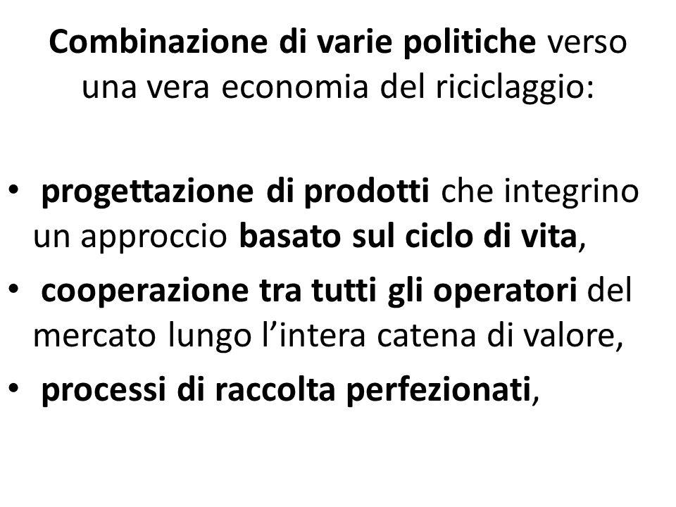 Combinazione di varie politiche verso una vera economia del riciclaggio: progettazione di prodotti che integrino un approccio basato sul ciclo di vita