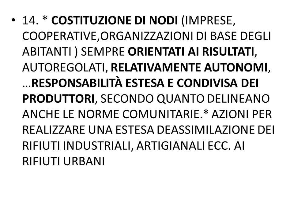 14. * COSTITUZIONE DI NODI (IMPRESE, COOPERATIVE,ORGANIZZAZIONI DI BASE DEGLI ABITANTI ) SEMPRE ORIENTATI AI RISULTATI, AUTOREGOLATI, RELATIVAMENTE AU