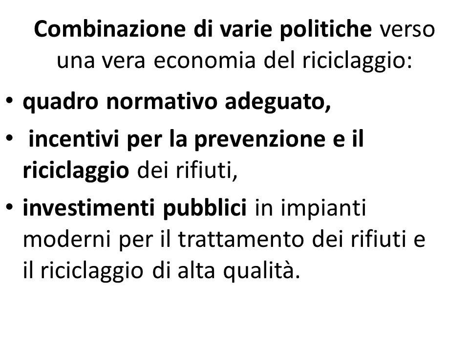 Combinazione di varie politiche verso una vera economia del riciclaggio: quadro normativo adeguato, incentivi per la prevenzione e il riciclaggio dei