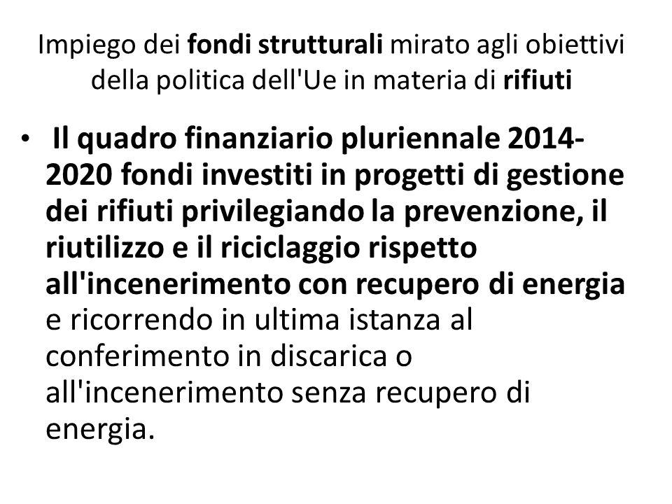 Impiego dei fondi strutturali mirato agli obiettivi della politica dell'Ue in materia di rifiuti Il quadro finanziario pluriennale 2014- 2020 fondi in