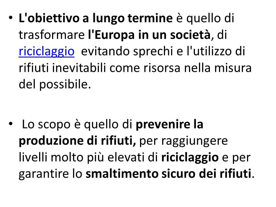 L'obiettivo a lungo termine è quello di trasformare l'Europa in un società, di riciclaggio evitando sprechi e l'utilizzo di rifiuti inevitabili come r
