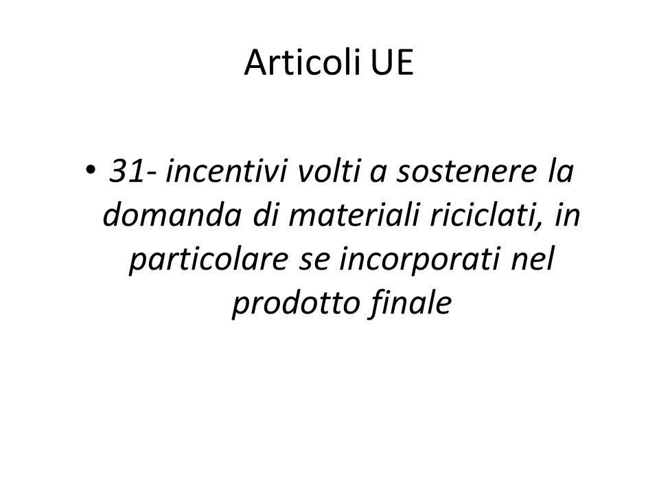 Articoli UE 31- incentivi volti a sostenere la domanda di materiali riciclati, in particolare se incorporati nel prodotto finale