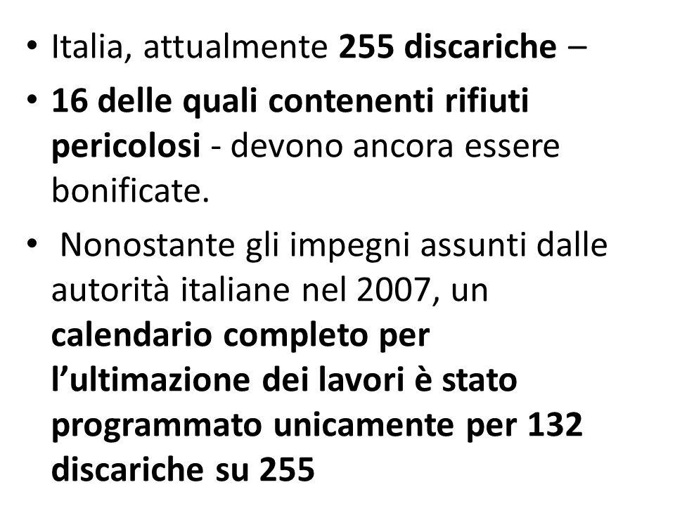 Italia, attualmente 255 discariche – 16 delle quali contenenti rifiuti pericolosi - devono ancora essere bonificate. Nonostante gli impegni assunti da