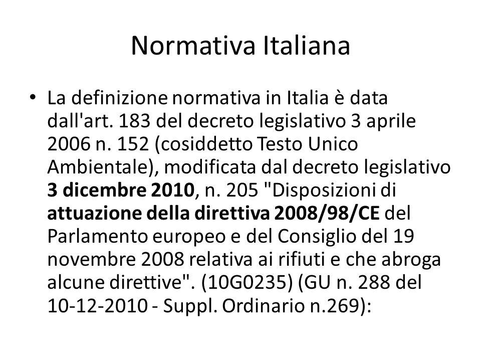 Normativa Italiana La definizione normativa in Italia è data dall'art. 183 del decreto legislativo 3 aprile 2006 n. 152 (cosiddetto Testo Unico Ambien