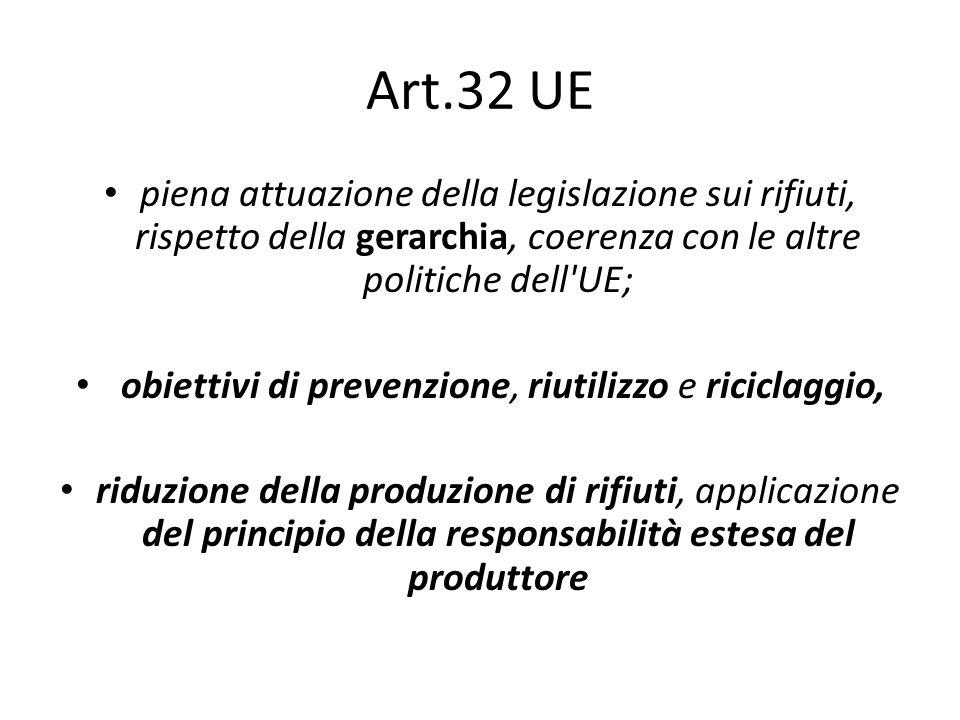 Art.32 UE piena attuazione della legislazione sui rifiuti, rispetto della gerarchia, coerenza con le altre politiche dell'UE; obiettivi di prevenzione