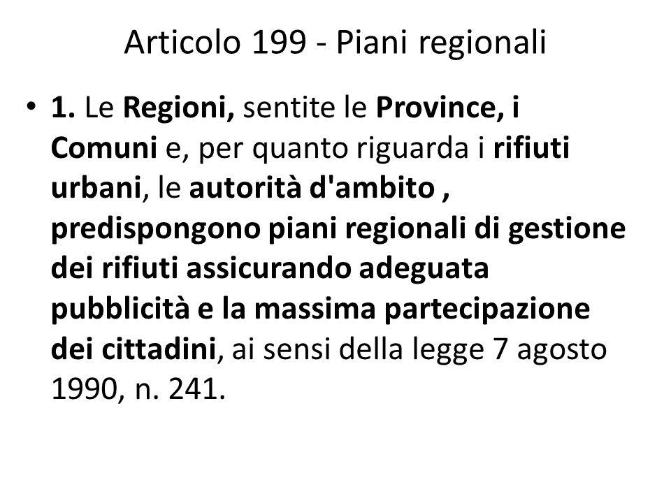 Articolo 199 - Piani regionali 1. Le Regioni, sentite le Province, i Comuni e, per quanto riguarda i rifiuti urbani, le autorità d'ambito, predispongo