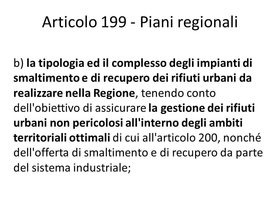 Articolo 199 - Piani regionali b) la tipologia ed il complesso degli impianti di smaltimento e di recupero dei rifiuti urbani da realizzare nella Regi