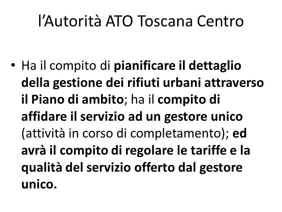 lAutorità ATO Toscana Centro Ha il compito di pianificare il dettaglio della gestione dei rifiuti urbani attraverso il Piano di ambito; ha il compito