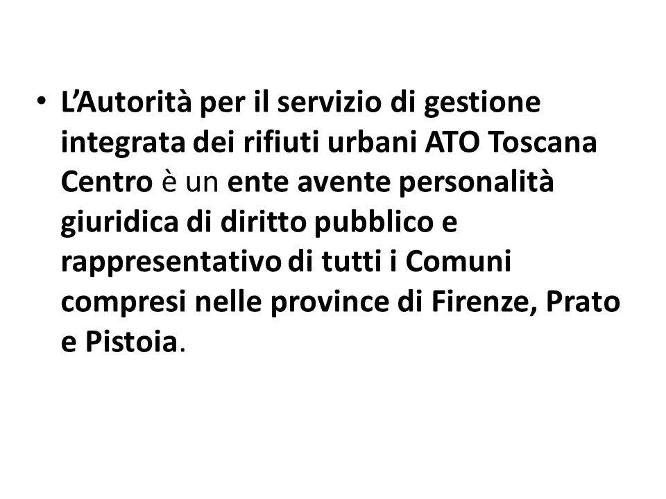LAutorità per il servizio di gestione integrata dei rifiuti urbani ATO Toscana Centro è un ente avente personalità giuridica di diritto pubblico e rap