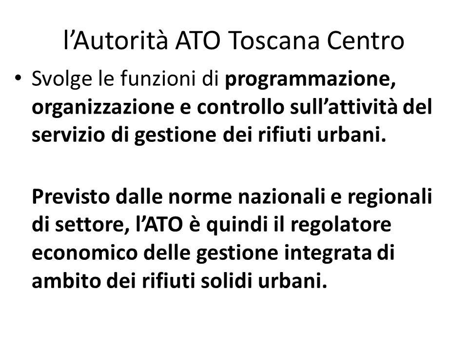 lAutorità ATO Toscana Centro Svolge le funzioni di programmazione, organizzazione e controllo sullattività del servizio di gestione dei rifiuti urbani