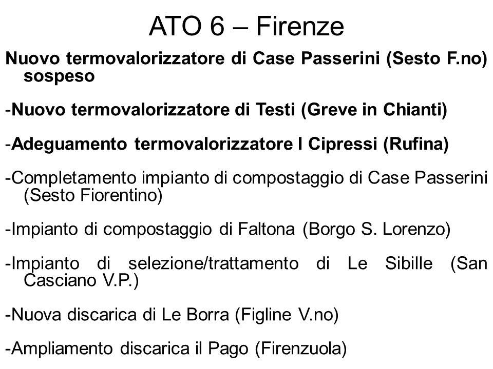 ATO 6 – Firenze Nuovo termovalorizzatore di Case Passerini (Sesto F.no) sospeso -Nuovo termovalorizzatore di Testi (Greve in Chianti) -Adeguamento ter