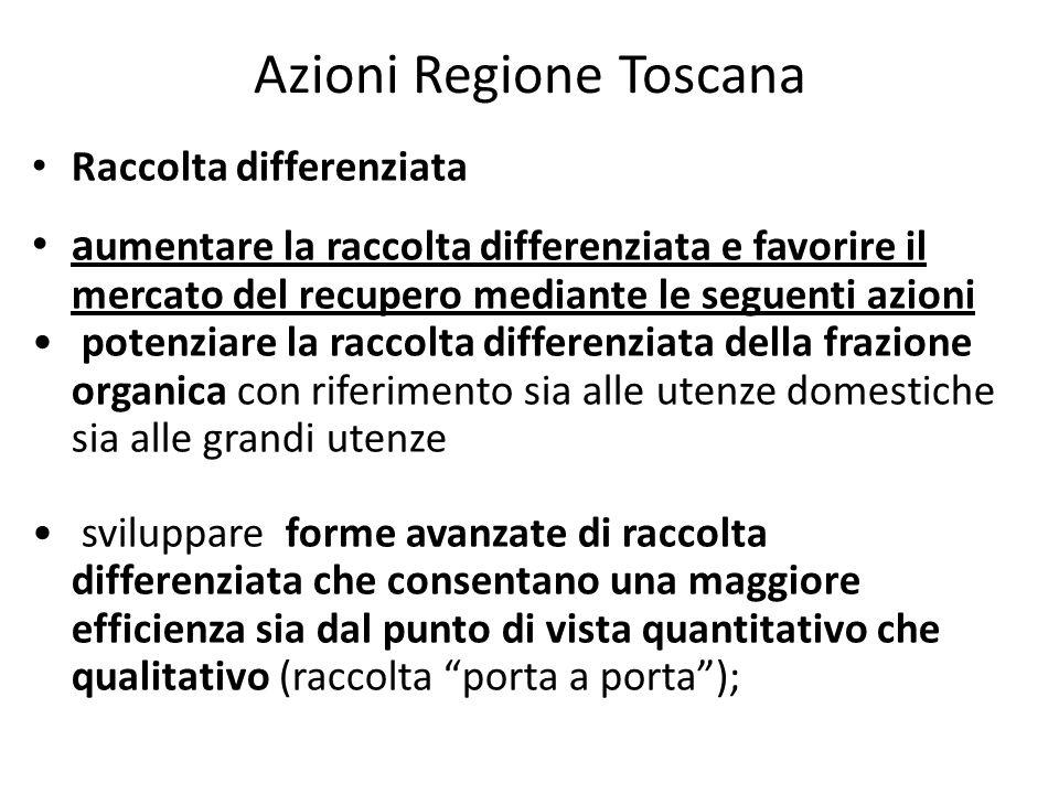 Azioni Regione Toscana Raccolta differenziata a umentare la raccolta differenziata e favorire il mercato del recupero mediante le seguenti azioni pote