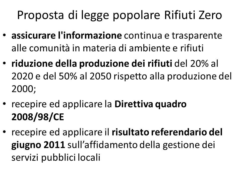 Proposta di legge popolare Rifiuti Zero assicurare l'informazione continua e trasparente alle comunità in materia di ambiente e rifiuti riduzione dell