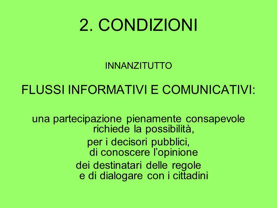 2. CONDIZIONI INNANZITUTTO FLUSSI INFORMATIVI E COMUNICATIVI: una partecipazione pienamente consapevole richiede la possibilità, per i decisori pubbli