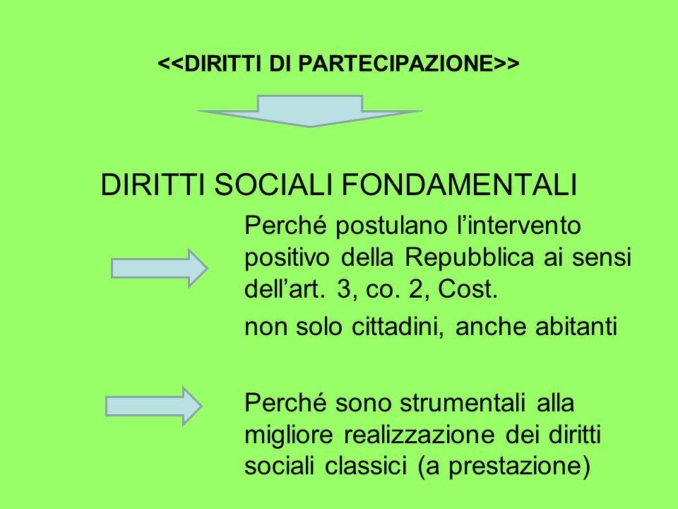 > DIRITTI SOCIALI FONDAMENTALI Perché postulano lintervento positivo della Repubblica ai sensi dellart.