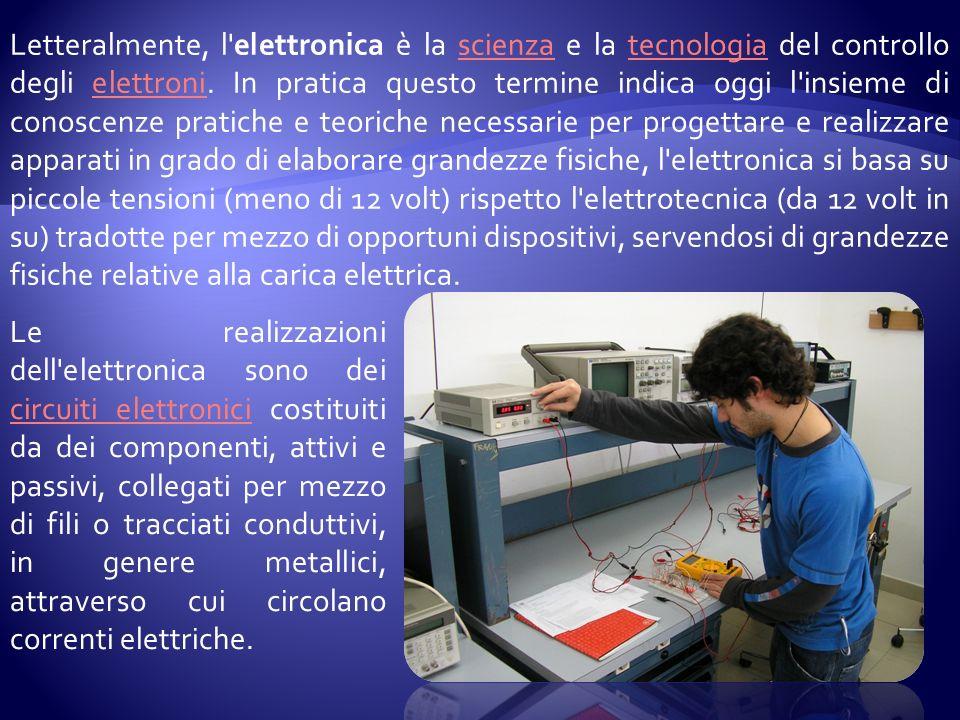 Letteralmente, l elettronica è la scienza e la tecnologia del controllo degli elettroni.