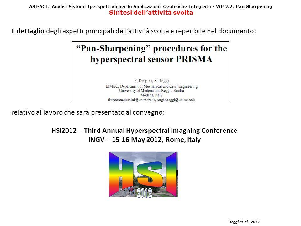 ASI-AGI: Analisi Sistemi Iperspettrali per le Applicazioni Geofisiche Integrate - WP 2.2: Pan Sharpening Sintesi dellattività svolta Teggi et al., 2012 Il dettaglio degli aspetti principali dellattività svolta è reperibile nel documento: relativo al lavoro che sarà presentato al convegno: HSI2012 – Third Annual Hyperspectral Imagning Conference INGV – 15-16 May 2012, Rome, Italy