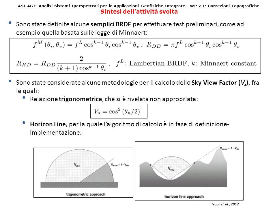 ASI-AGI: Analisi Sistemi Iperspettrali per le Applicazioni Geofisiche Integrate - WP 2.1: Correzioni Topografiche Sintesi dellattività svolta Teggi et al., 2012 Sono state definite alcune semplici BRDF per effettuare test preliminari, come ad esempio quella basata sulle legge di Minnaert: Sono state considerate alcune metodologie per il calcolo dello Sky View Factor (V s ), fra le quali: Relazione trigonometrica, che si è rivelata non appropriata: Horizon Line, per la quale lalgoritmo di calcolo è in fase di definizione- implementazione.