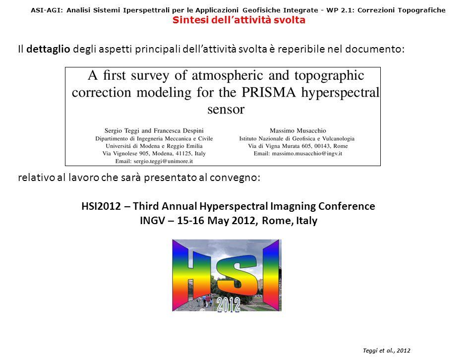 ASI-AGI: Analisi Sistemi Iperspettrali per le Applicazioni Geofisiche Integrate WP 2.2: PAN Sharpening Prodotto: Procedura per il Pan Sharpening di immagini PRISMA: ottenimento di unimmagine iperspettrale con risoluzione spaziale migliorata a 5 m.