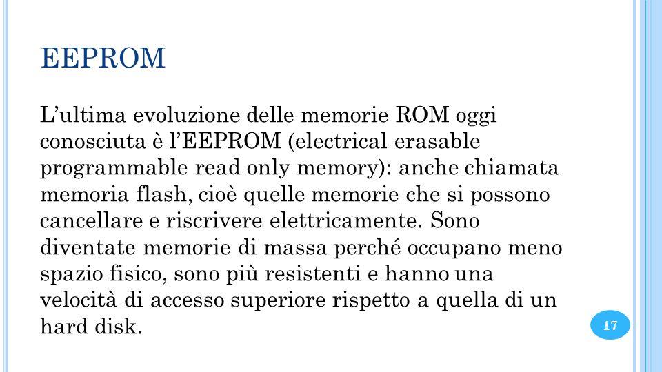 EEPROM Lultima evoluzione delle memorie ROM oggi conosciuta è lEEPROM (electrical erasable programmable read only memory): anche chiamata memoria flas
