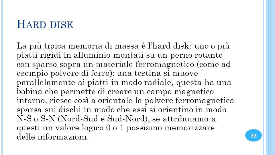 H ARD DISK La più tipica memoria di massa è lhard disk: uno o più piatti rigidi in alluminio montati su un perno rotante con sparso sopra un materiale