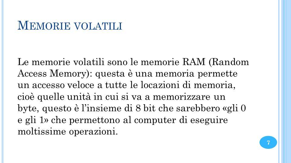 M EMORIE VOLATILI Le memorie volatili sono le memorie RAM (Random Access Memory): questa è una memoria permette un accesso veloce a tutte le locazioni
