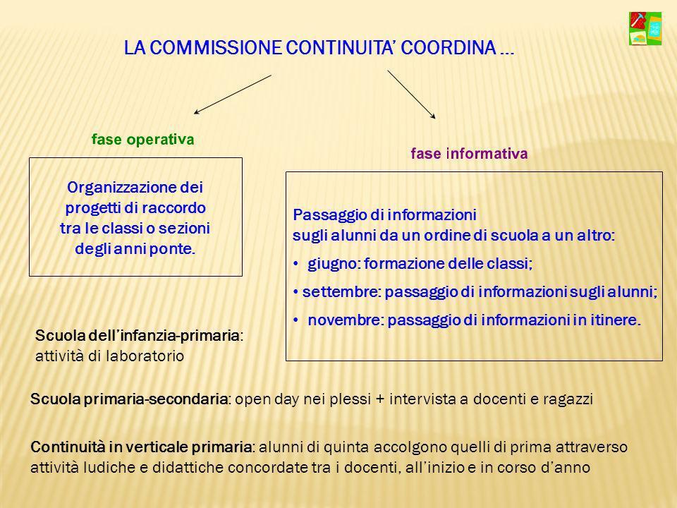 Organizzazione dei progetti di raccordo tra le classi o sezioni degli anni ponte. Passaggio di informazioni sugli alunni da un ordine di scuola a un a