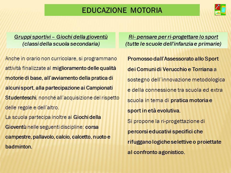 EDUCAZIONE MOTORIA Gruppi sportivi – Giochi della gioventù (classi della scuola secondaria) Ri- pensare per ri-progettare lo sport (tutte le scuole de
