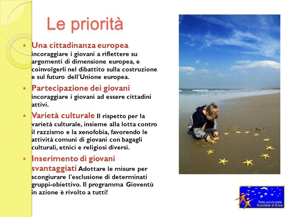 Le priorità Una cittadinanza europea incoraggiare i giovani a riflettere su argomenti di dimensione europea, e coinvolgerli nel dibattito sulla costruzione e sul futuro dell Unione europea.