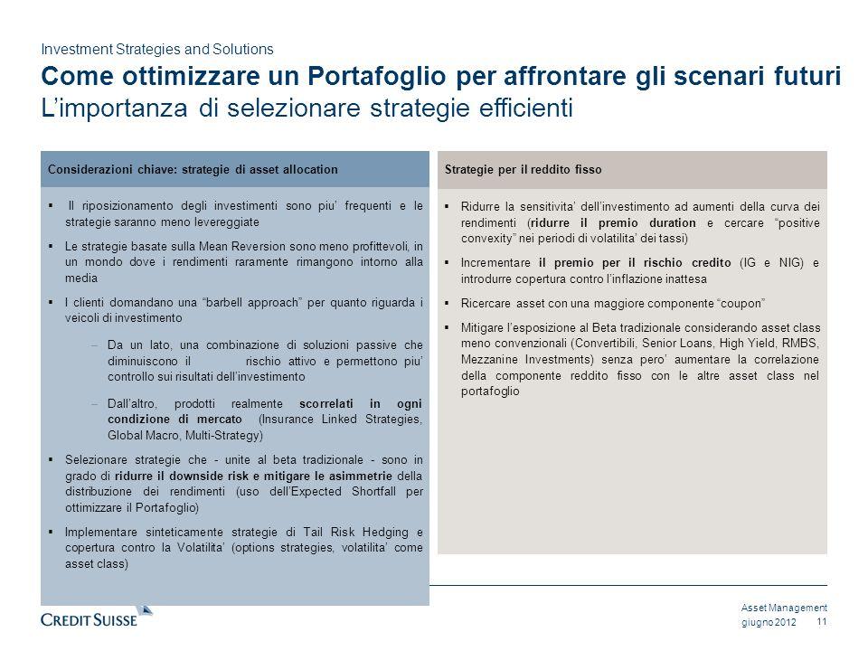 Asset Management Investment Strategies and Solutions giugno 2012 Come ottimizzare un Portafoglio per affrontare gli scenari futuri Limportanza di sele