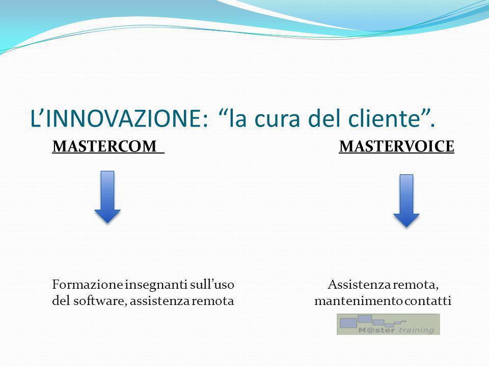 LINNOVAZIONE: la cura del cliente. MASTERCOM MASTERVOICE Formazione insegnanti sulluso Assistenza remota, del software, assistenza remota mantenimento