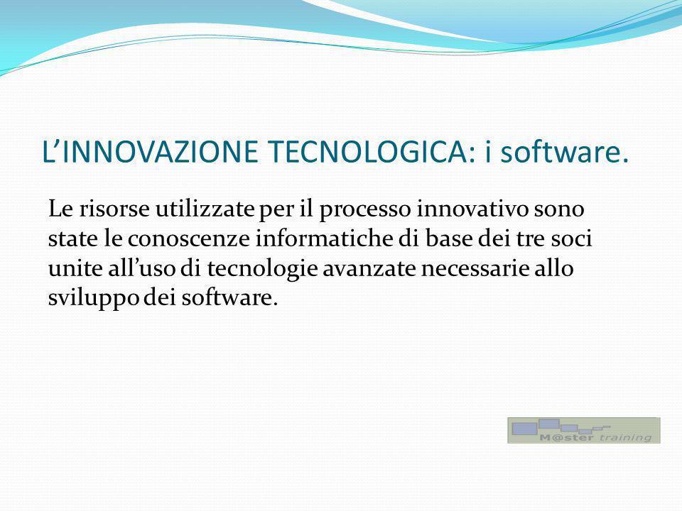 LINNOVAZIONE TECNOLOGICA: i software. Le risorse utilizzate per il processo innovativo sono state le conoscenze informatiche di base dei tre soci unit