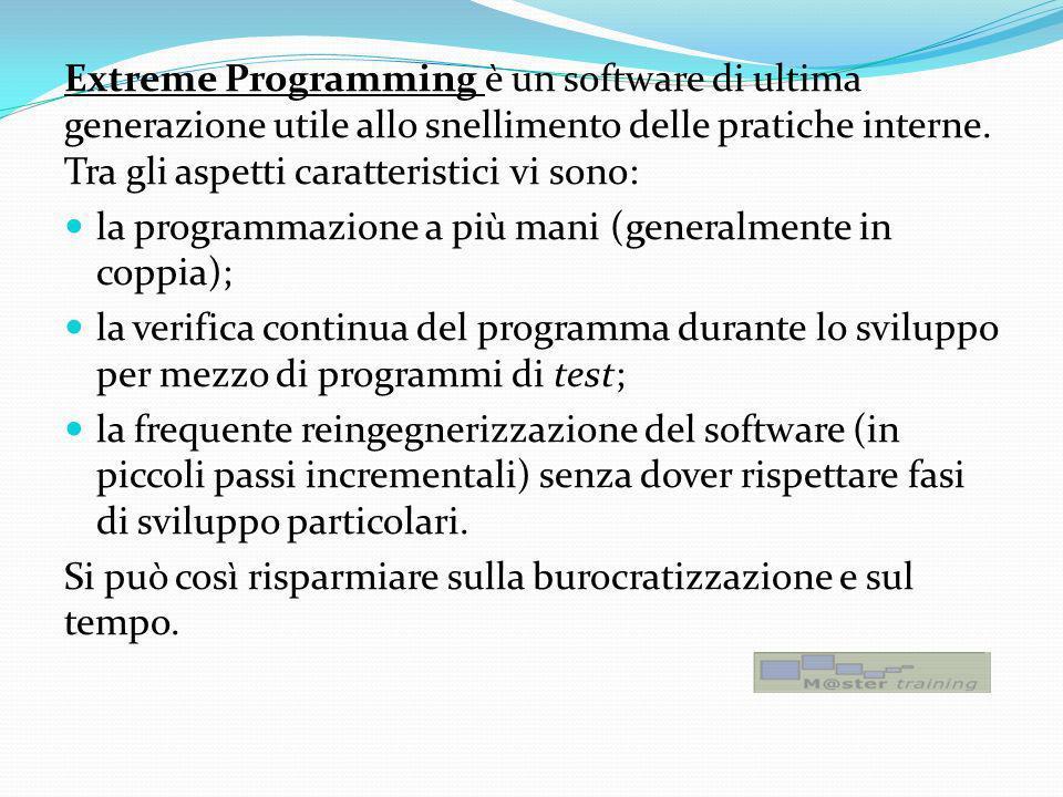 Extreme Programming è un software di ultima generazione utile allo snellimento delle pratiche interne. Tra gli aspetti caratteristici vi sono: la prog