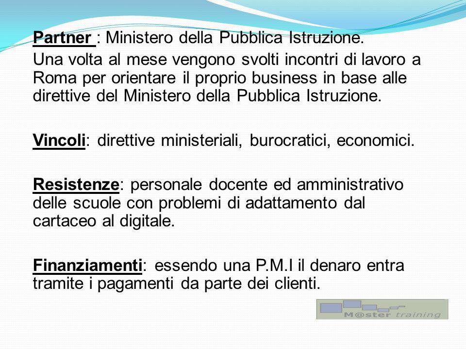Partner : Ministero della Pubblica Istruzione. Una volta al mese vengono svolti incontri di lavoro a Roma per orientare il proprio business in base al