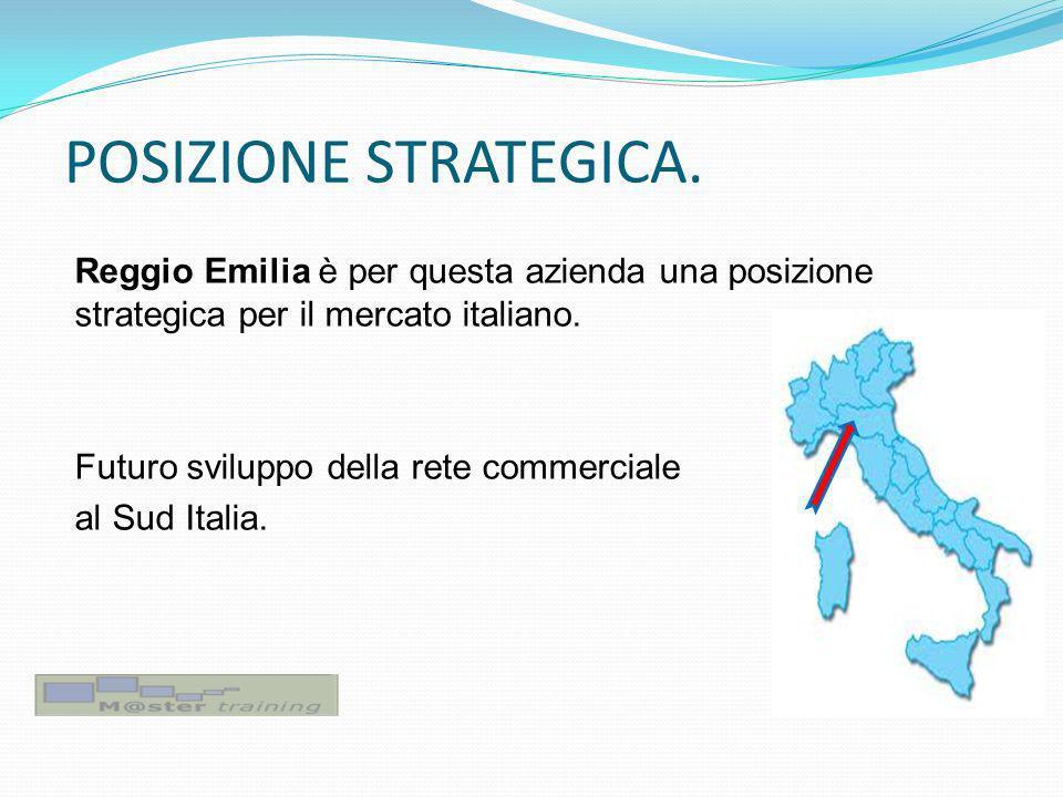 POSIZIONE STRATEGICA. Reggio Emilia è per questa azienda una posizione strategica per il mercato italiano. Futuro sviluppo della rete commerciale al S