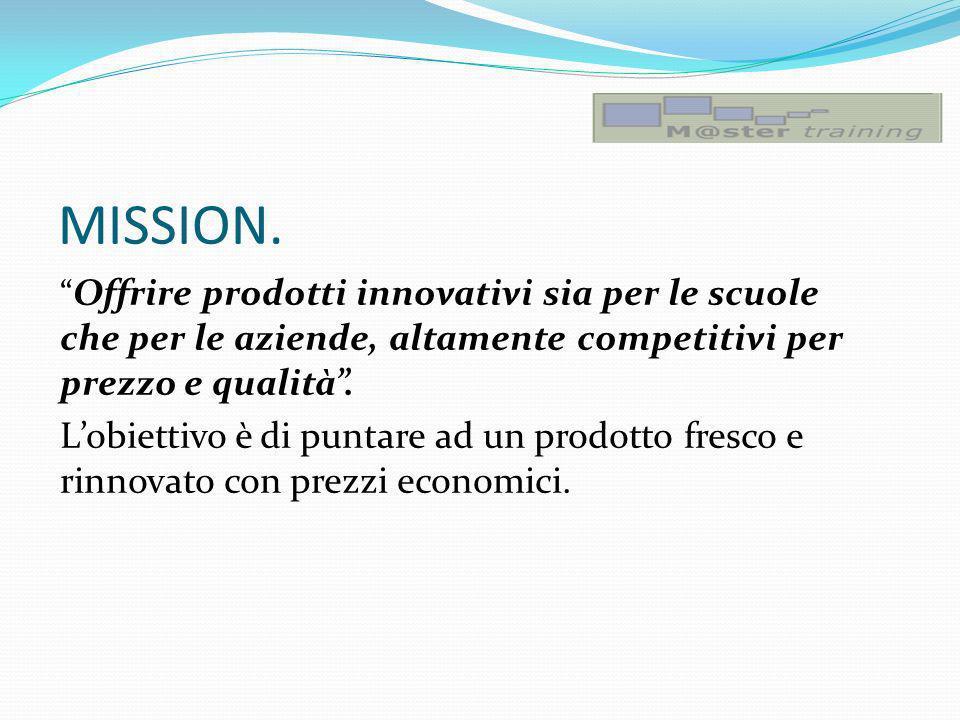 MISSION. Offrire prodotti innovativi sia per le scuole che per le aziende, altamente competitivi per prezzo e qualità. Lobiettivo è di puntare ad un p