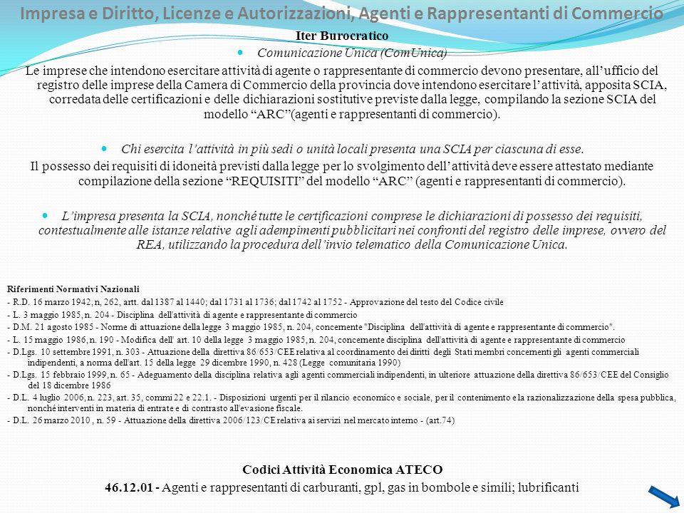 Impresa e Diritto, Licenze e Autorizzazioni, Agenti e Rappresentanti di Commercio Iter Burocratico Comunicazione Unica (ComUnica) Le imprese che inten