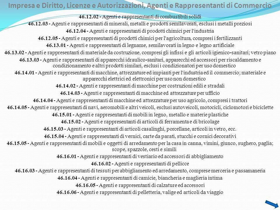 Impresa e Diritto, Licenze e Autorizzazioni, Agenti e Rappresentanti di Commercio 46.12.02 - Agenti e rappresentanti di combustibili solidi 46.12.03 - Agenti e rappresentanti di minerali, metalli e prodotti semilavorati, esclusi i metalli preziosi 46.12.04 - Agenti e rappresentanti di prodotti chimici per l industria 46.12.05 - Agenti e rappresentanti di prodotti chimici per l agricoltura, compresi i fertilizzanti 46.13.01 - Agenti e rappresentanti di legname, semilavorati in legno e legno artificiale 46.13.02 - Agenti e rappresentanti di materiale da costruzione, compresi gli infissi e gli articoli igienico-sanitari; vetro piano 46.13.03 - Agenti e rappresentanti di apparecchi idraulico-sanitari, apparecchi ed accessori per riscaldamento e condizionamento e altri prodotti similari, esclusi i condizionatori per uso domestico 46.14.01 - Agenti e rappresentanti di macchine, attrezzature ed impianti per l industria ed il commercio; materiale e apparecchi elettrici ed elettronici per uso non domestico 46.14.02 - Agenti e rappresentanti di macchine per costruzioni edili e stradali 46.14.03 - Agenti e rappresentanti di macchine ed attrezzature per ufficio 46.14.04 - Agenti e rappresentanti di macchine ed attrezzature per uso agricolo, compresi i trattori 46.14.05 - Agenti e rappresentanti di navi, aeromobili e altri veicoli, esclusi autoveicoli, motocicli, ciclomotori e biciclette 46.15.01 - Agenti e rappresentanti di mobili in legno, metallo e materie plastiche 46.15.02 - Agenti e rappresentanti di articoli di ferramenta e di bricolage 46.15.03 - Agenti e rappresentanti di articoli casalinghi, porcellane, articoli in vetro, ecc.