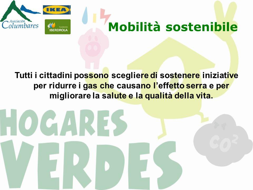 Mobilità sostenibile Tutti i cittadini possono scegliere di sostenere iniziative per ridurre i gas che causano leffetto serra e per migliorare la salute e la qualità della vita.