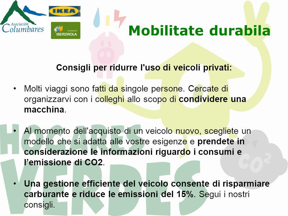Mobilitate durabila Consigli per ridurre l uso di veicoli privati: Molti viaggi sono fatti da singole persone.