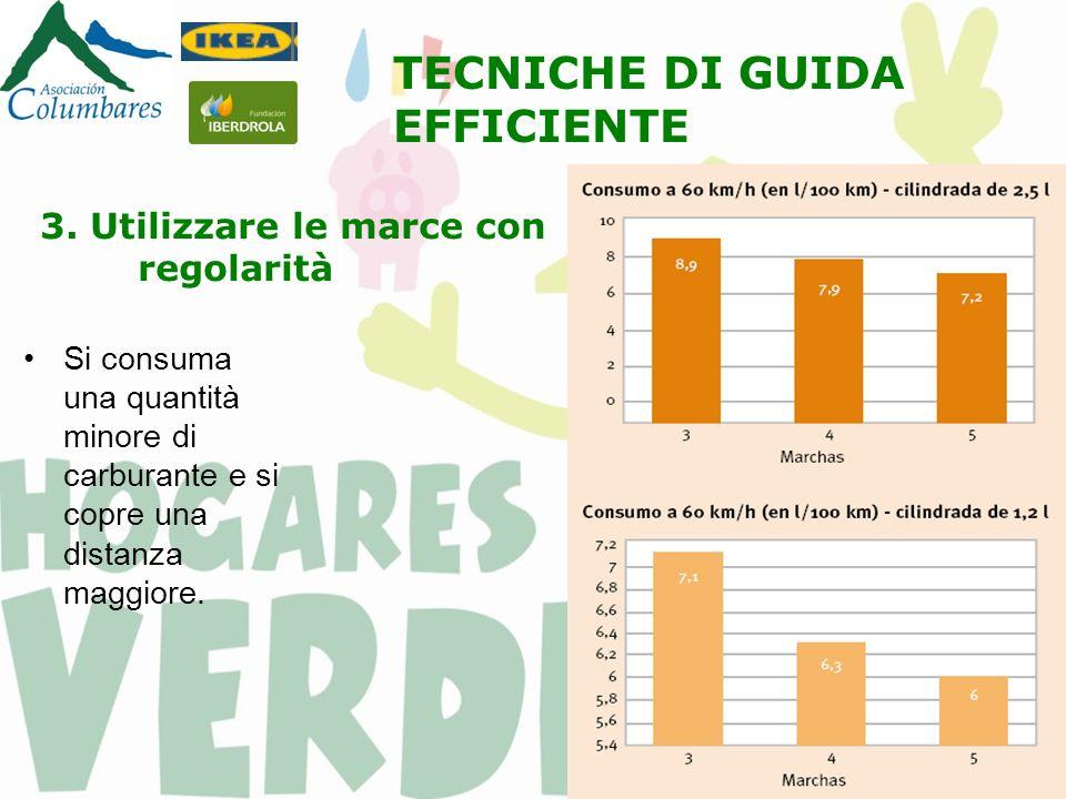 3. Utilizzare le marce con regolarità Si consuma una quantità minore di carburante e si copre una distanza maggiore. TECNICHE DI GUIDA EFFICIENTE