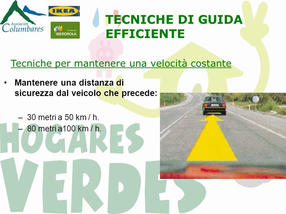 Mantenere una distanza di sicurezza dal veicolo che precede: –30 metri a 50 km / h.