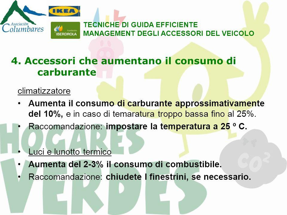 4. Accessori che aumentano il consumo di carburante climatizzatore Aumenta il consumo di carburante approssimativamente del 10%, e in caso di temaratu