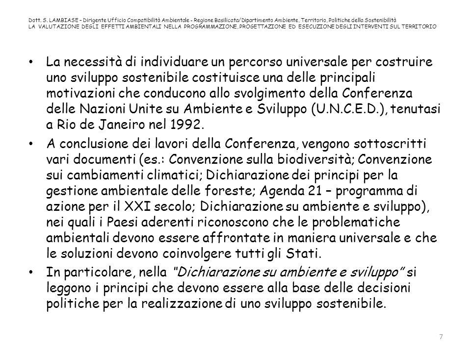 Dott. S. LAMBIASE – Dirigente Ufficio Compatibilità Ambientale - Regione Basilicata/Dipartimento Ambiente, Territorio, Politiche della Sostenibilità L